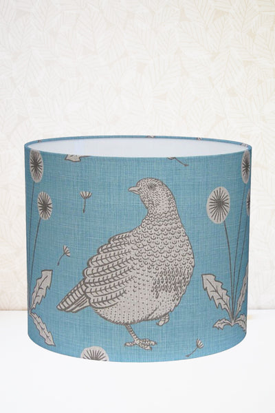 Blue Partridge Fabric Lampshade