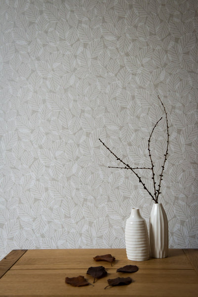 Beech Leaves Wallpaper in Pebble