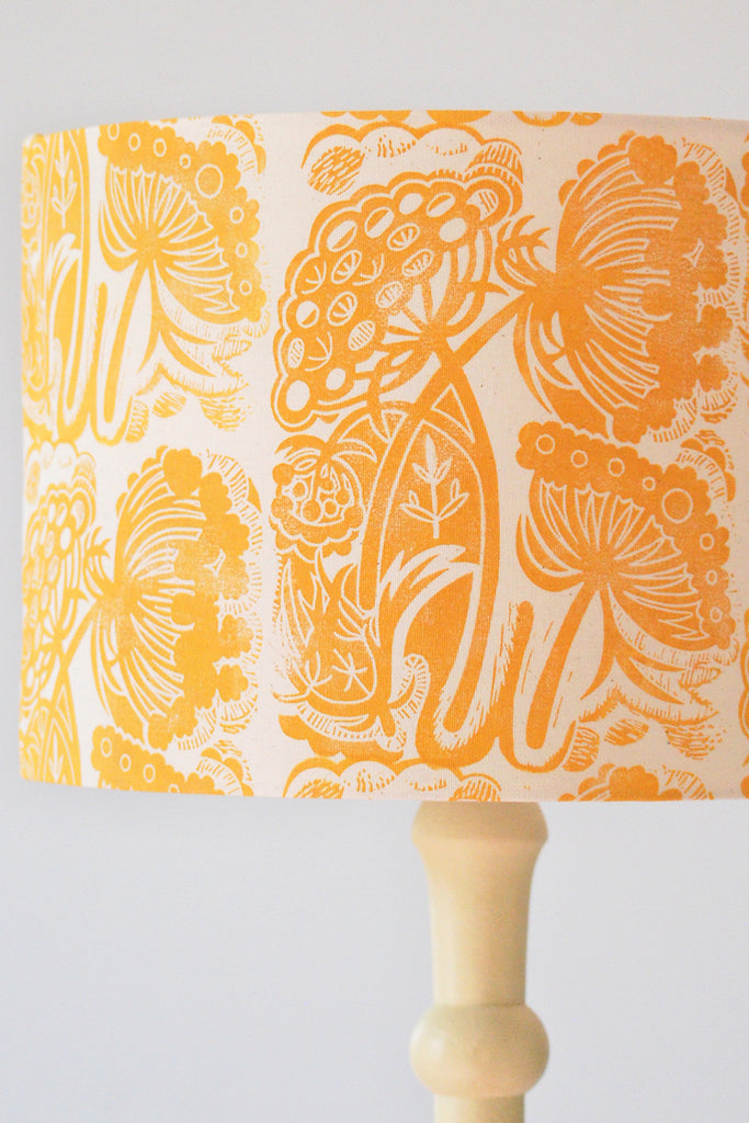 Block Printed Queen Anne's Lace Lampshade in Golden Yellow