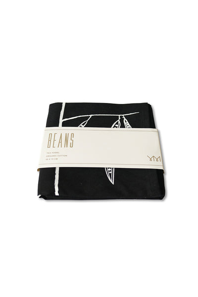 Beans tea-towel in black