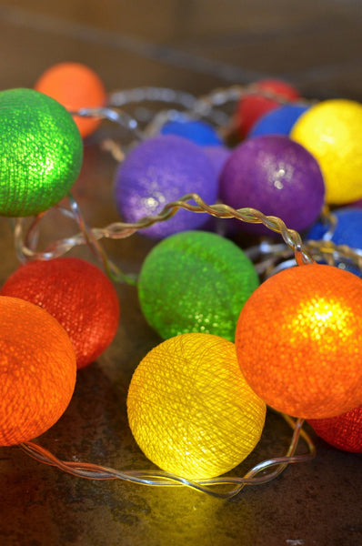 Rainbow Tones Cotton Ball Fairy Lights