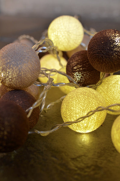 Rustic Tones Cotton Ball Fairy Lights