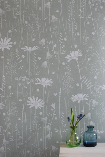 Daisy Meadow Wallpaper in Sage