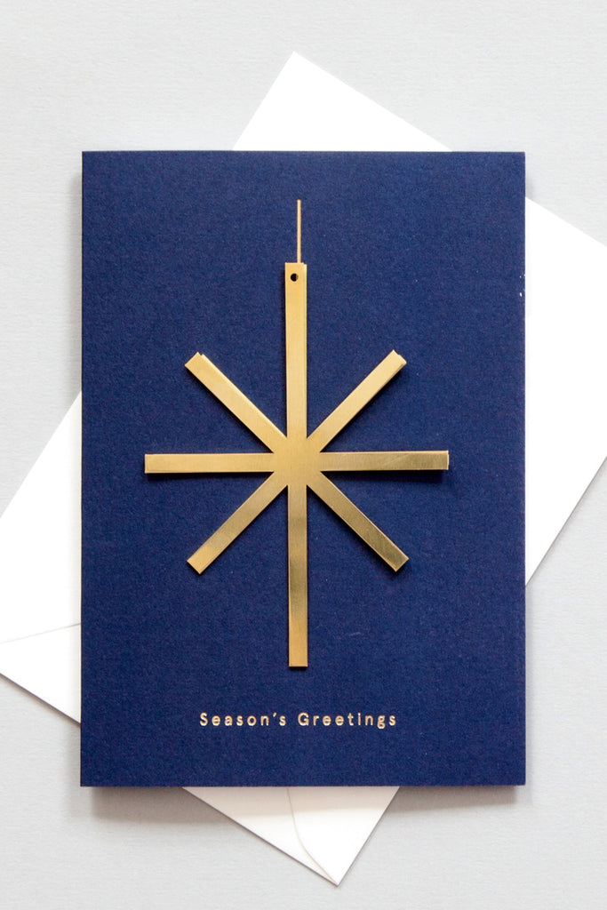 Star - Solid Brass Ornament Card