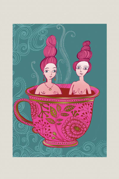 Teacup Ladies Greetings Card