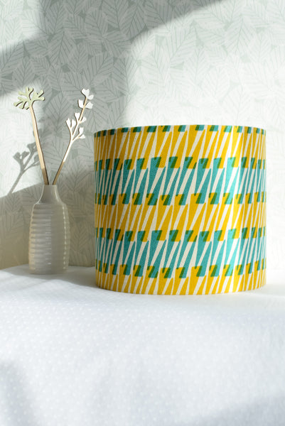 Thorns Fabric Shade in Jade/Daffodil