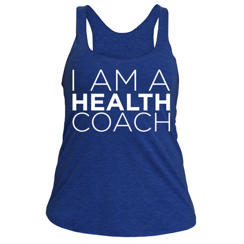I am a health coach (racerback white design)