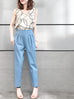 Last Chance! Chambray High Waist Pleated Tapered Pants