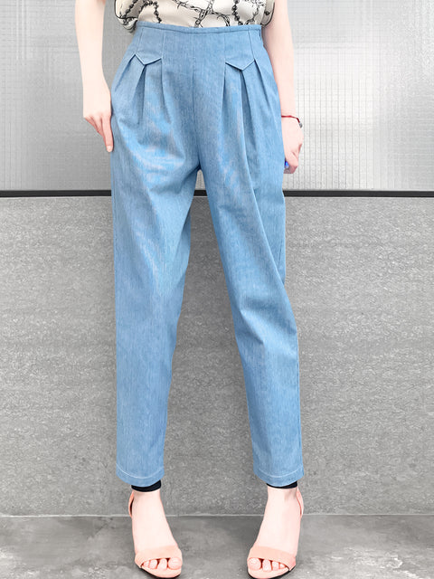 Chambray High Waist Pleated Tapered Pants