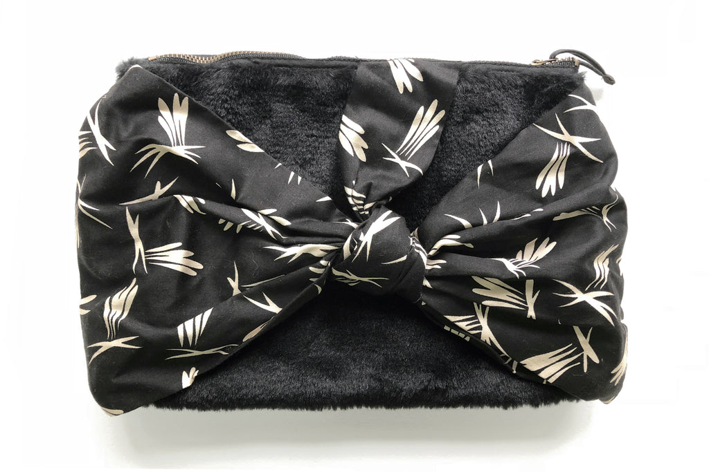 Black Furry Printed Birds Bow Pouch