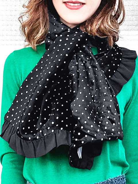 Surprise Sale! Reversible Velvet Dots & Embossed Houndstooth Ruffle Trim Pull Through Scarf