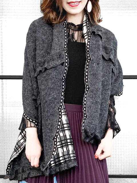 Dark Grey Ruffle Trims Double Face Tartan Angora Wool Blend Shawl