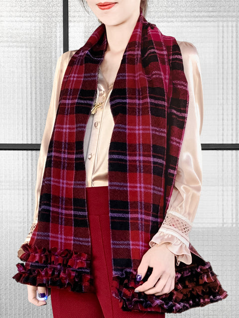 Red Shades Pleated Ruffle Trim Check Woollen Scarf