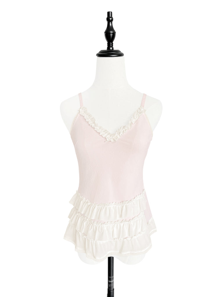 Light Pink Strappy Ruffle Camisole Silk Top