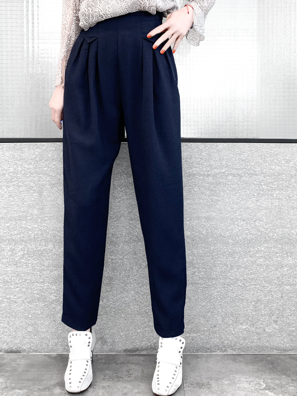 Surprise Sale! Preorder Navy High Waist Pleated Tapered Pants