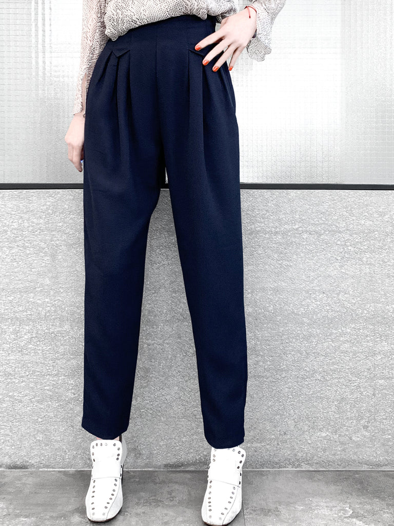 Surprise Sale! Navy High Waist Pleated Tapered Pants