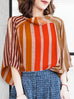 Final Sale! Colourful Stripes Bell Sleeve Cold Shoulder Silk Top
