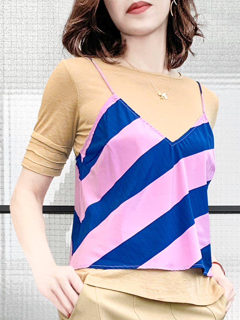 Further Sale! Striped Silk Camisole Twofer 2-in-1 Lapped Seam Tee Top