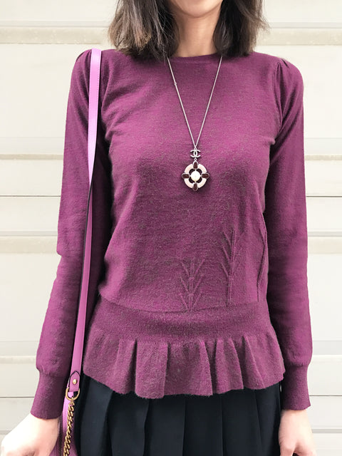 Last Chance! Deep Magenta Angora Wool Blend Ruffle Hem Top