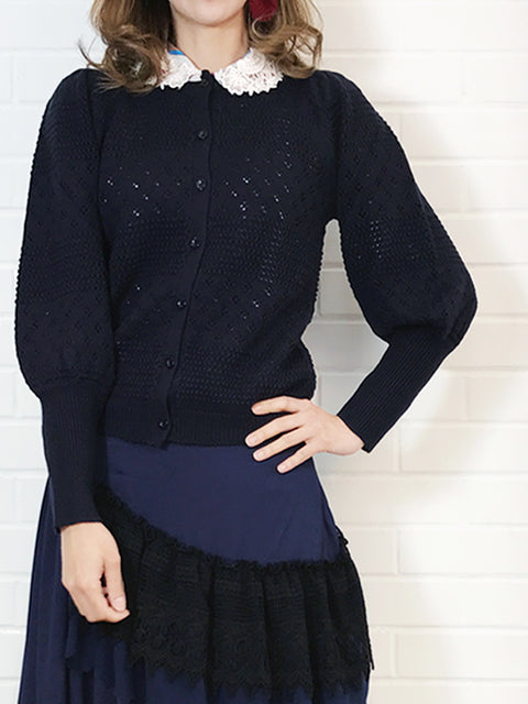 Last Chance! Navy Mixed Stitches Cashmere Wool Blended Cardigan