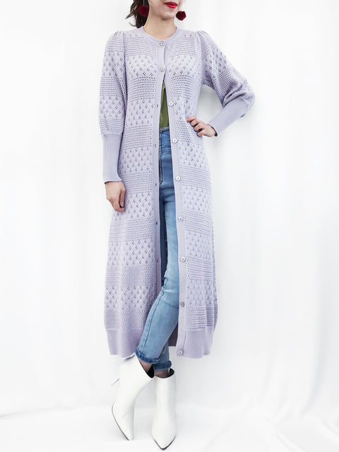 Cashmere Sale! Lilac Mixed Stitches Cashmere Blended Longline Cardigan