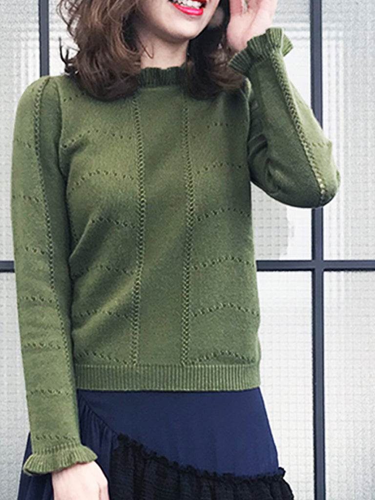 Cashmere Sale! Olive Green Frill Neck Double Stitch Cashmere Sweater