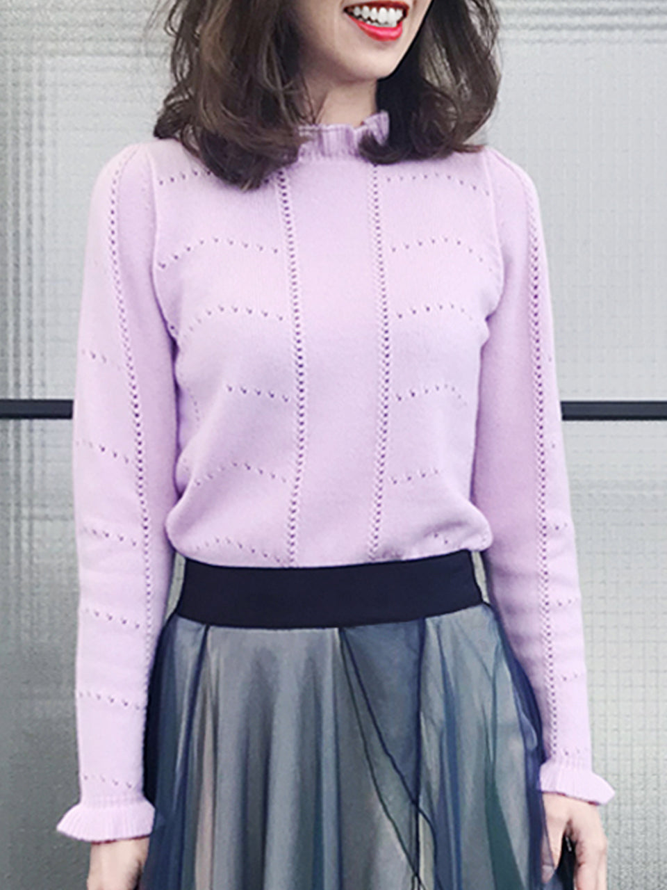 Cashmere Sale! Lilac Pink Frill Neck Double Stitch Cashmere Sweater