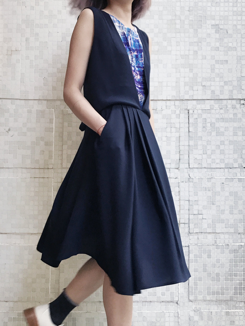 Last Chance! Navy Contrast Layered Open Cross Back Dress