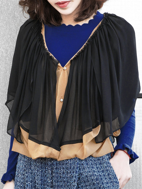 Final Sale! Beige Black Cropped Chiffon Silk Layered Cape Cardigan