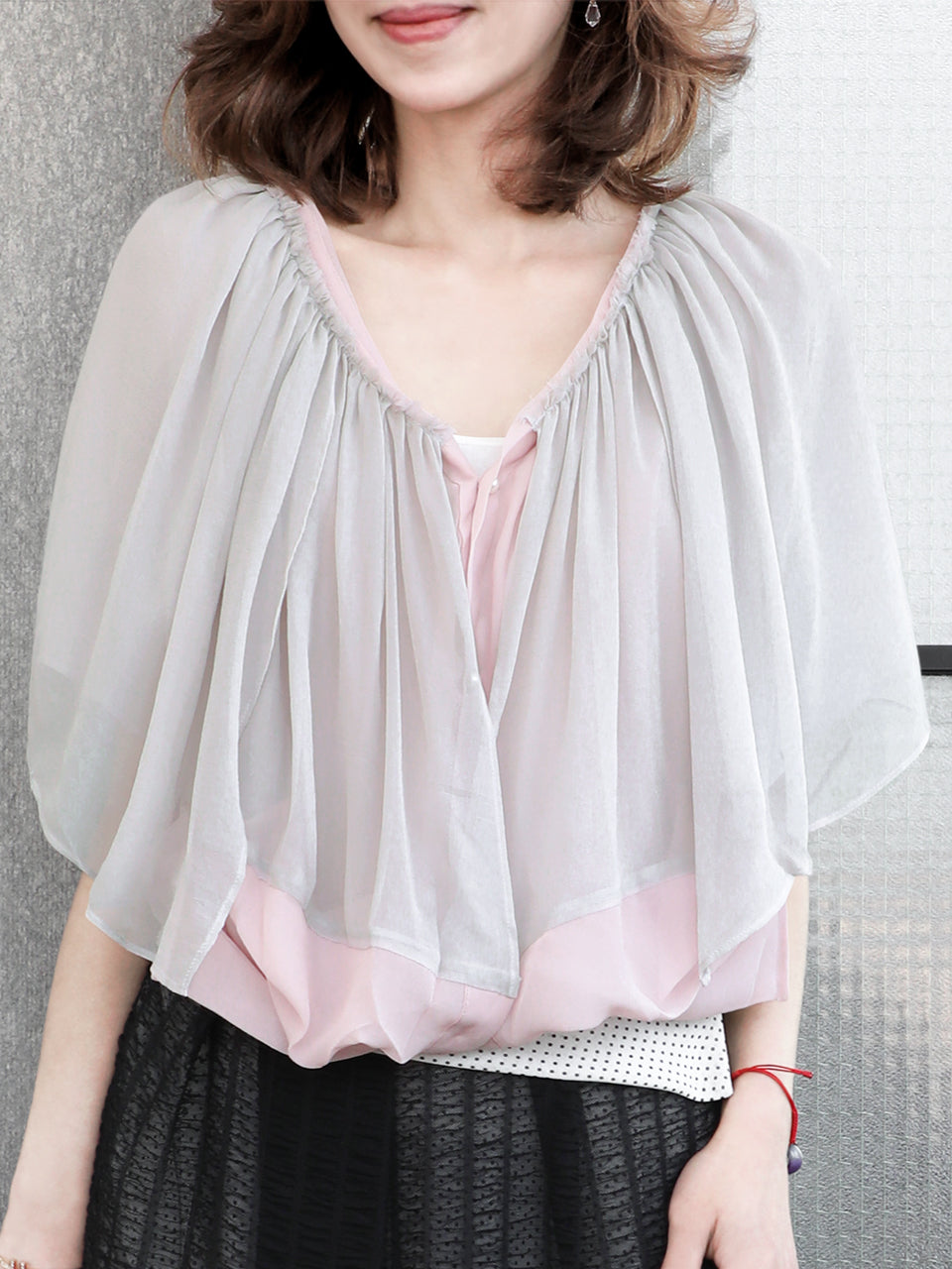 Final Sale! Pinky Grey Cropped Chiffon Silk Layered Cape Cardigan