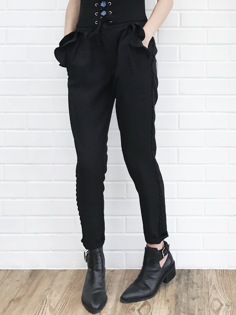 Further Sale! Black Ruffle Pocket Scallop Side Trim Trousers