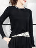 Black Scallop Collar Contrast Trim Cashmere Wool Blend Sweater