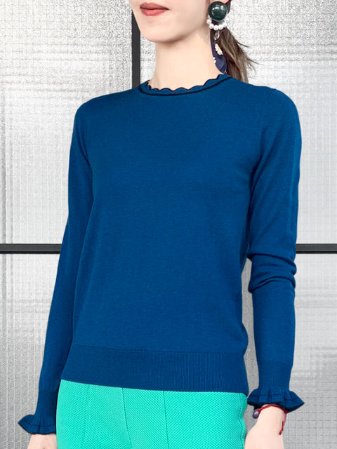 Blue Scallop Collar Contrast Trim Cashmere Wool Blend Sweater