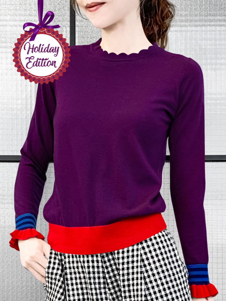 Holiday Edition! Scallop Collar Contrast Cuff Cashmere Wool Blend Sweater