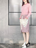 Pinky Scallop Collar Contrast Trim Cashmere Wool Blend Sweater