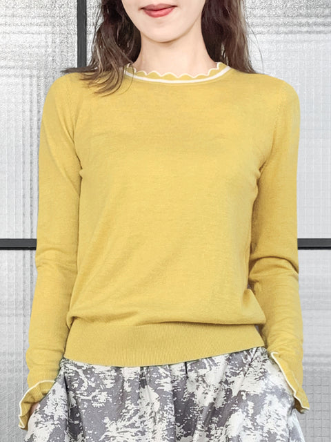 Dull Yellow Scallop Collar Contrast Trim Cashmere Wool Blend Sweater