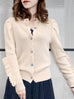 Ivory Rose Scallop Placket Ruffle Trim Wool & Cashmere Cardigan
