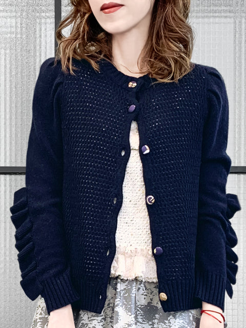 Dark Navy Scallop Placket Ruffle Trim Wool & Cashmere Cardigan