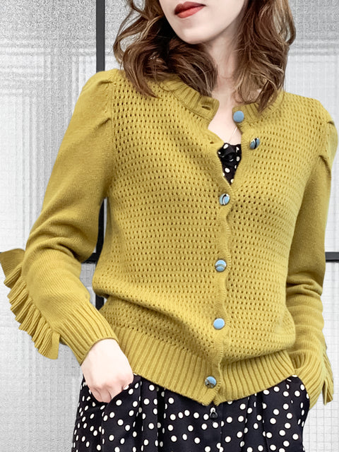 Mustard Yellow Scallop Placket Ruffle Trim Wool & Cashmere Cardigan