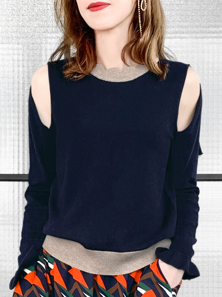 Last Chance! Navy Colourblock Scallop Collar Cold-Shoulder Cashmere Blend Sweater