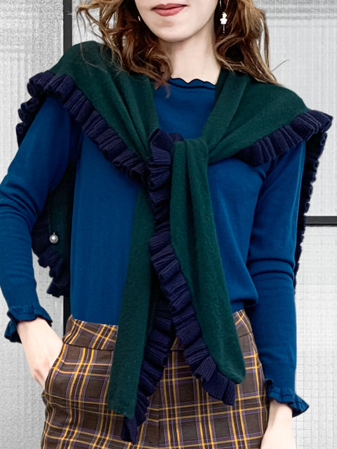Last Chance! Green & Navy Pleated Frills Wool & Cashmere Ruana - Scarf