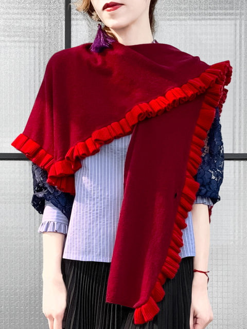 Last Chance! Burgundy & Red Pleated Frills Wool & Cashmere Ruana - Scarf