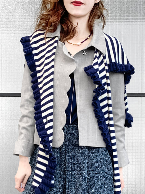 Last Chance! Navy Stripes Pleated Frills Wool & Cashmere Ruana - Scarf