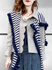 Navy Stripes Pleated Frills Wool & Cashmere Ruana - Scarf