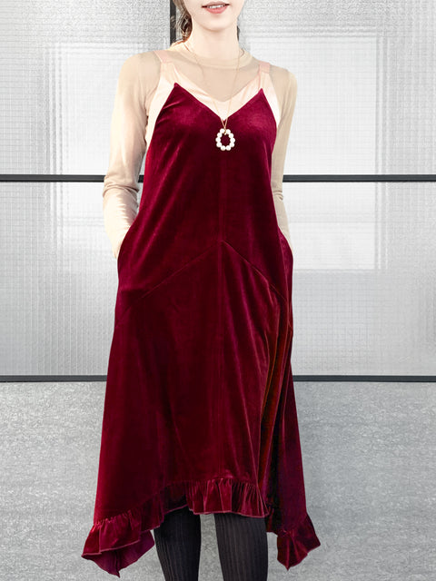 Madder Red Silky Contrast V-Neck A-Line Velvet Dress