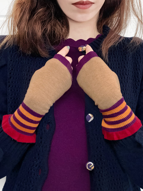 Purple Beige Contrasting Stripes Ruffle Woolly Knitted Mittens