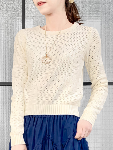 Ivory Mixed Stitches Cotton Blend Crop Sweater
