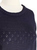 Purplish Grey Mixed Stitches Cotton Blend Crop Sweater