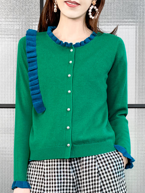 Green/ Blue Contrast Ruffle Cashmere & Wool Cardigan
