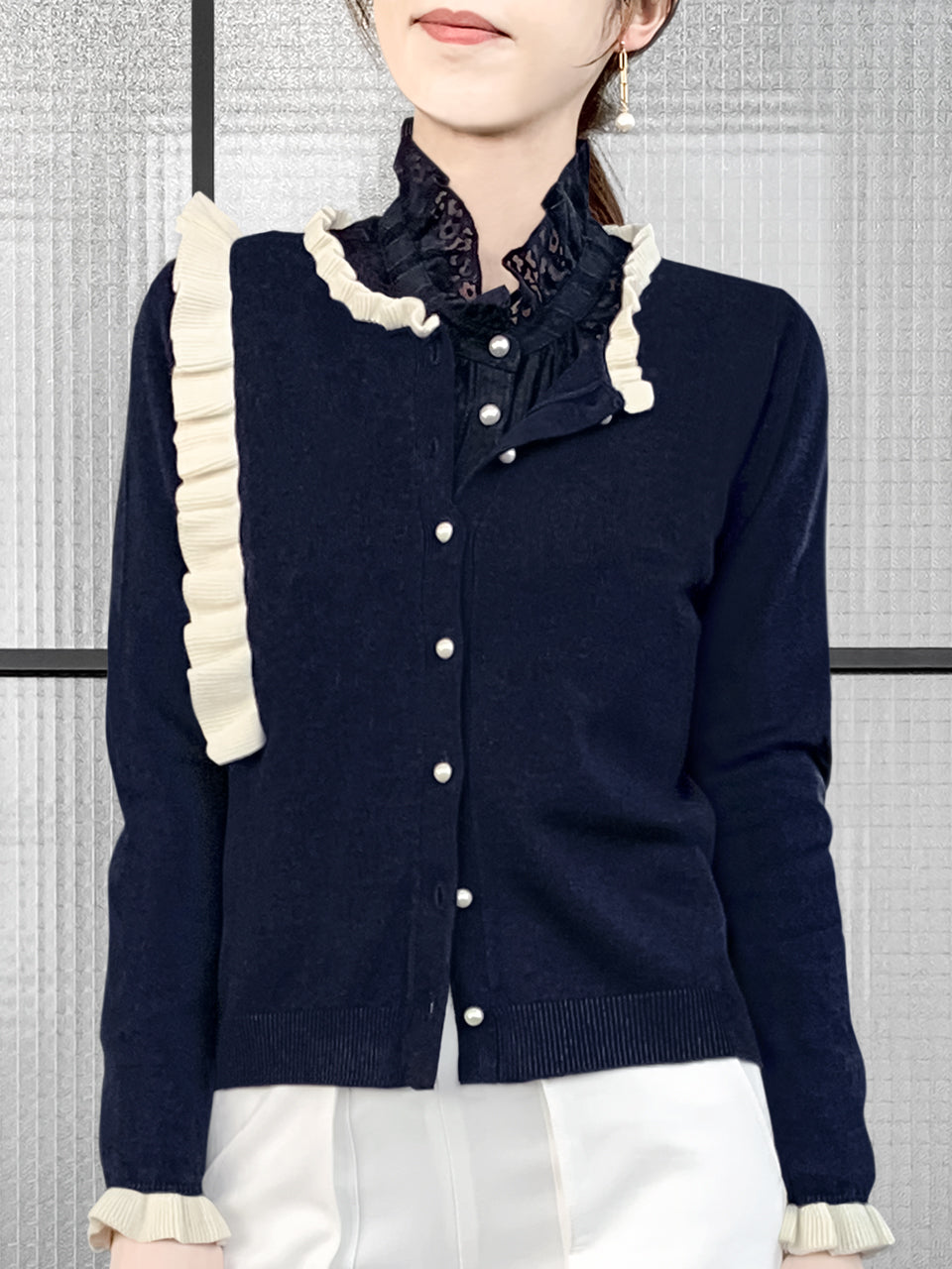 Navy/ Ivory Contrast Ruffle Cashmere & Wool Cardigan